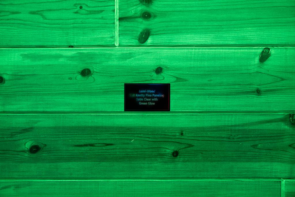 1x8 Knotty Pine Paneling w/Clear Coat w/Green Glow